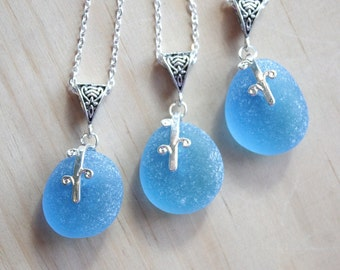 Eco friendly Custom jewelry Frosted Sugar coat Sea glass with .925 sterling silver plated bail on chain necklace G3