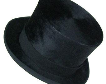 "23"" - Schwarz Philadelphia Mens Black Beaver Fur Top Hat"