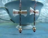 Romantic Ribbon Earrings- French vanilla silk, pearls, copper chain, lightweight