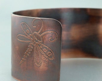 Cuff Bracelet- Etched Copper Dragonflies, Dragonfly Cuff