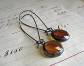 Amber Faceted Glass Earrings Long Arched Earwires Jewelry