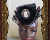 Velvet Multicolored with Cameo Perky Little Hat for Victorian, Burlesque or Steampunk