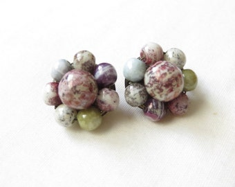 Vintage pastel marbled bead clip on clip back earrings Made in Austria