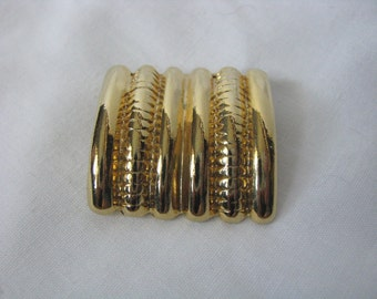 Vintage square gold tone ribbed scarf ring scarf clip scarf keeper