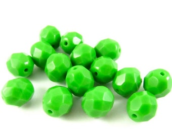 20 - Round Czech Fire Polished Faceted Glass Beads - Opaque Green - 8mm - FPGRN8
