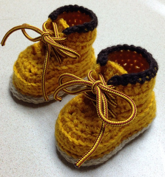 Crochet Baby Work Boots by tnetCreations on Etsy