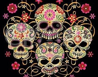 dia de los muertos day of the dead 4 painted skulls unisexmen size t - Mexican Halloween Skulls