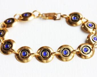 Beaded Bracelet Blue, Gold Disc Bracelet, Gold Link Bracelet, Gold Blue Bracelet, Round Links Bracelet, Gold Chain Bracelet, Blue Bracelet