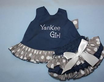 Navy and gray Sassy ruffle pinafore top and Sassy ruffle bloomer 1st Birthday outfit