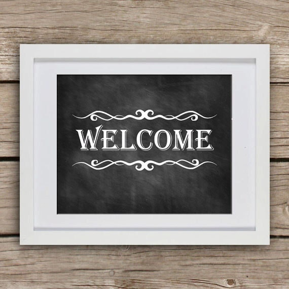 Printable Welcome Home Sign: Printable Welcome Sign Chalkboard Sign By GotPaperDesigns