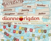 Family Theme Words and Banners - Instant Download-High Res-Digital - We Are Family