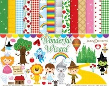 The Wonderful Wizard of Oz clipart and digital papers scrapbook pack DK022 instant download