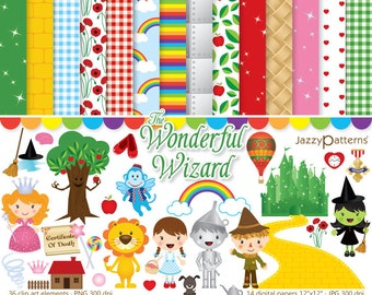 Wizard of Oz clipart and digital papers. Instant download (DK022)
