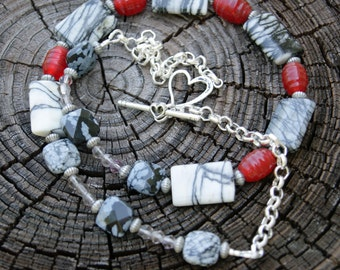 Black Lace Agate and Red Glass Beaded Necklace