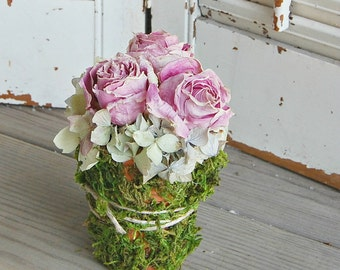 Dried Pink Roses / Spring Dried Flower  Moss Pot / Shabby Cottage Flowers