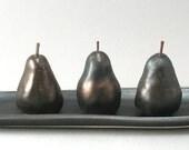 Ceramic Pears-Set of 3-Oval Tray-Metallic Bronze Glaze-Hand Built-Pears-Home Decor-Pottery Pears-Ready to Ship