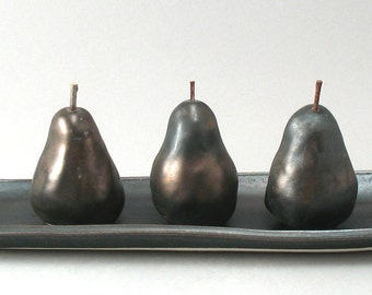 Ceramic Pears-Set of 3-Oval Tray-Metallic Bronze Glaze-Hand Built-Pears-Home Decor-Pottery Pears-Ready to Ship