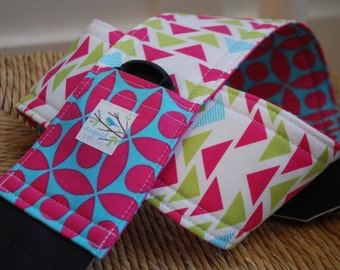 Camera Strap Pink and Aqua Tribal, Reversible, Built in Lens Cap Pocket
