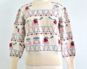 Vintage 1980s Country Hearts Wool Sweater - Susan Bristol