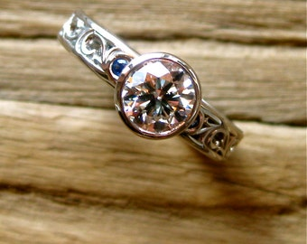 Diamond Engagement Ring in Palladium with Blue Sapphires and Floral Scroll Motif Size 4