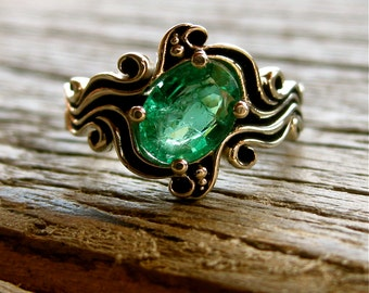 Kelly Green Emerald Engagement Ring in 14K White Gold in Ocean Sea Surf Themed Setting with Black Waves Size 5