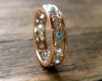 Blue Topaz 14K White & 14K Rose Gold Wedding Band with Fine Scroll Work Size 4
