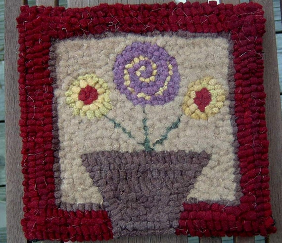 Beginner Posy Pot Rug Hooking Kit And Hook By