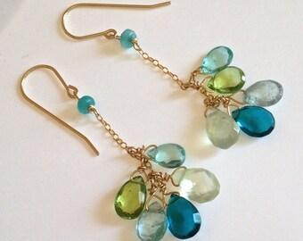 Blue Topaz, Peridot, Apatite, Phrenite Gemstone Earrings, Long Green Blue Stone Earrings in Gold