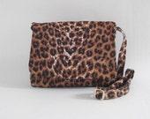 Messenger bag leopard print vegan cross body shoulder bag lined handmade