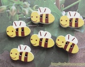 Wooden Flat Buttons, Painted Color - Lovely Flying Spring Wee Bees (6 in a set)