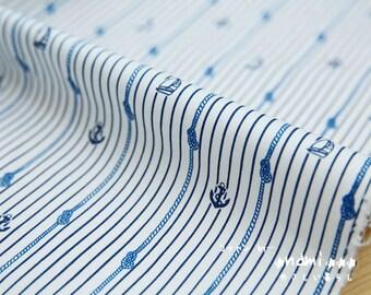 Nautical Marine, Neat Summer Blue Anchors Sailing Boats On Sailor's Knot Line Stripes - Japanese Cotton Fabric (Fat Quarter)