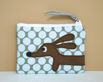 Dachshund Wiener Dog Coin Purse - Doxie Robin's Egg Blue Polka Dot - Accessory