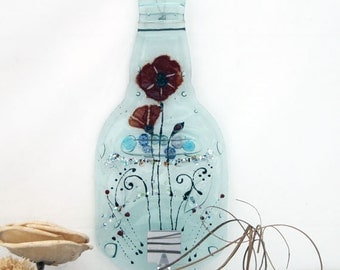 Recycled Wall Hanging rack,  Fused glass Wine Bottle hook ,lovly red  Poppy