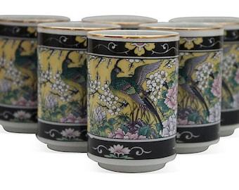 CLEARANCE - Vintage Set of 6 Asian / Japanese Peacock / Bird of Paradise Teacups / Sake Cups