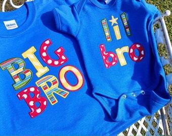 Big Bro Little Bro Applique Shirt or Onesie