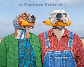 Corn Dogs, large original photograph of a boxer dog and American bulldog wearing vintage clothes and getting corny