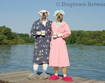 His N Hers, large original photograph of two boxer dogs wearing vintage robes and standing on dock with coffee