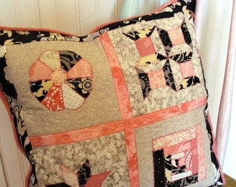 Patchwork Quilted Pillow in Black and Pink and Cream