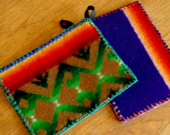 Wool Pot Holders - Recycled Pendleton Wool
