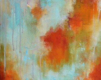 "Autumn Rain Original Abstract Painting, Modern Wall Art Turquoise and Yellow Orange 12""x12"""
