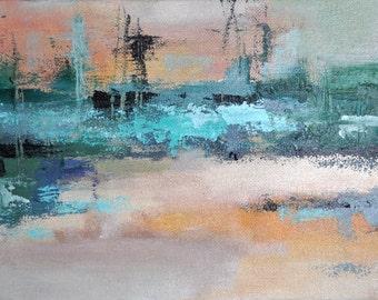 "Original Abstract Painting Modern Wall Art Harbor 9x7"""