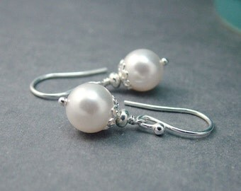 Simple Pearl Earrings, White Swarovski, Sterling Silver, Bridesmaid Gift, Bridal Jewelry, Wedding, White Pearl