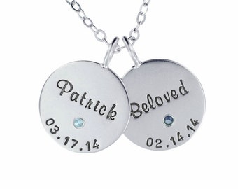 Custom Birthstone Necklace Sterling Silver Hand Stamped Name and Birthdate Charms Personalized Engraved Artisan Handmade Designer Jewelry