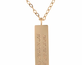 Custom Solid Gold Coordinate Geo Tag 14K Pendant Necklace Handstamped Personalized Engraved Artisan Handmade Fine Designer Fashion Jewelry