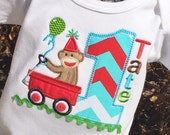 Boys Wagon Shirt, Monkey Shirt, Sock Monkey, Sock Monkey Shirt, Monkey Birthday Shirt, 1st birthday boy
