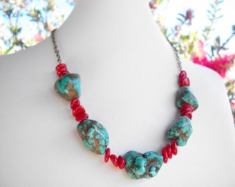 """Chunky coral turquoise necklace, red coral and turquoise blue magnesite nugget and chain necklace, 19"""" long brass necklace"""