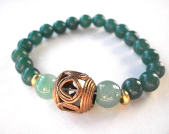 Mala bracelet, green aventurine gemstone wrist mala with handmade African brass bead, 18 bead wrist mala