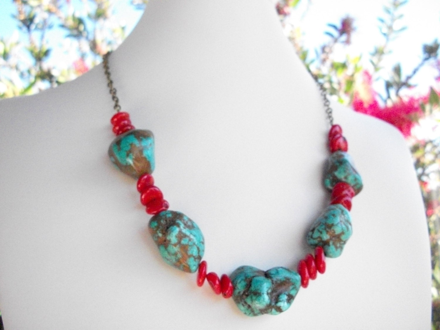 chunky coral turquoise necklace coral and turquoise blue
