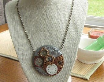 STEAMPUNK Polymer Clay Metallic Circle Necklace - Industrial Style Clock Face Jewelry for Women
