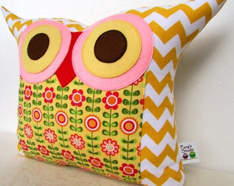 for her /Large size /Chevron owl pillow/zig zag/ yellow/ pink/Flower bed owl pillow/decoration cushion/Ready to ship